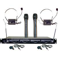 Pyle PDWM4300 4 Mic VHF Wireless Rack Mo