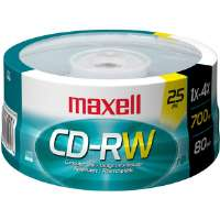 Maxell CD-RW25 4x Rewritable CD-RW For Data - 25 Spindle