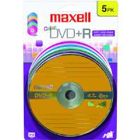 Maxell DVD+RCLR5 16x Color Write-Once DVD+R - 5/Pack