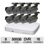 Q-See 960H 16Ch 8 Cam 480TVL 500GB Security System