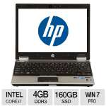 "HP 2540P Notebook PC - Intel Core i7 2.13GHz, 4GB Memory, 160GB SSD, DVDRW, 12"" Display, Windows 7 Professional 64-bit (Off-Lease) - RB-810576023071"