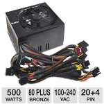 EVGA 500B 500 Watt Bronze Power Supply Unit - 80 PLUS Bronze, 120mm Fan, Single +12V Rail Design, 100-240 VAC, 50/60 Hz, Black - 100-B1-0500-KR
