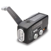 Eton FR160 Microlink Radio - AM/FM, 7 NOAA Weatherband Channels, 3 White LED, Solar Powered, Dynamo Hand Crank, USB, AUX Out, Black