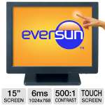 "Eversun LP-15E32U 15"" Class Touchscreen LCD Monitor - ELO Touch, 1024 x 768, 500:1, 6ms, USB, 2x1W Speakers"