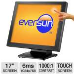 Eversun PA17T 17&quot; Class Touchscreen LCD Monitor - 5-Wire Resistive, 1024 x 768, 1000:1, 6ms, USB, 2x1W Speakers