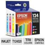 Epson 124 T124520 DURABrite Ultra Moderate-Capacity Color Multipack (Yellow, Cyan, Magenta)