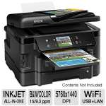 "Epson WorkForce 3540 WiFi All-in-One Printer - Scan, Copy, Fax, Duplex (2-sided printing), 5760 x 1440 dpi, 15 ppm Black, 9.3 Color, 3.5"" Touchscreen, 30-sheet ADF, 500-sheet paper tray, AirPrint"