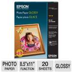 "Epson S041141 Glossy Photo Paper, 8.5""x11"" 20 Sheets"