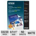 "Epson - S041568 - Premium Matte Double-Sided Paper 8.5"" x 11"" (50 Sheets)"