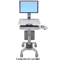 Ergotron WorkFit C-Mod Single Display Sit-Stand Workstation - Cart for LCD display / keyboard / mouse / CPU - plastic, aluminum, steel - two-tone gray - screen size: up to (24-198-055)