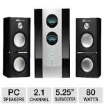 "Eagle Arion ET-AR512LR-BK 2.1 Soundstage Speaker System - 2.1 Channel, 80 Watts Total, 5.25"" Subwoofer, Remote"