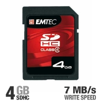 Emtec EKMSD4GB60XHC 4GB Class 4 SDHC Memory Card - 7 MB/sec Write-speed