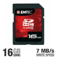Emtec EKMSD16GB60XHC 16GB Class 4 SDHC Memory Card - 7 MB/sec Write-speed
