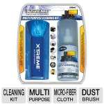 The kit includes a screen clean fluid, micro-fiber cleaning cloth, and dust brush that leave no trace of dirt on your plasma/LCD TVs, projectors, moni