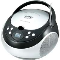 NAXA Portable CD Player - AM/FM, 3.5mm AUX Audio Input, LED Display, Telescopic Antenna, Black - NPB251BK