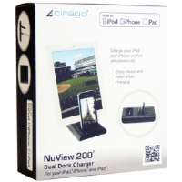 Cirago NuView 200 Dual Dock Charger - Digital player / phone / tablet charging station - 2 output connectors ( Apple Dock connector ) - black - for Apple iPad 1; 2; 3; iPhone 3G, 3GS, 4, (IPA5100)