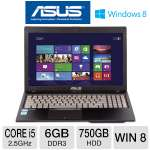 ASUS Q500A-BHI5N01 Laptop Computer - 3rd generation Intel Core i5-3210M 2.5GHz, 6GB DDR3, 750GB HDD, DVDRW, 15.6 in. Display, Windows 8 (RB-Q500A-BHI5N01) (Refurbished)