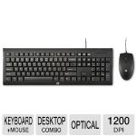 HP C2500 Wired Desktop Keyboard & Mouse - 3 Indicator Lights, High Resolution Optical Sensor, 1200 dpi  - H3C53AA#ABA