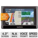 "Garmin Nuvi 42LM Automotive GPS - 4.3"" Display, North America Maps, Lifetime Map Updates, MicroSD Slot, Voice Prompt, Lane Assist, Speed Limit Indicator, Custom POI's (010-01114-01)"