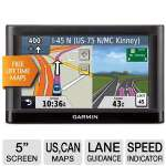 "Garmin Nuvi 54LM Automotive GPS - 5"" Display, US & Canada Maps, MicroSD Slot, Voice Prompt, Speed Limit Indicator, Lane Assist, Custom POI's, Route Avoidance (010-01115-03)"