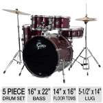"Gretsch Renegade GRGE625WR 5 Piece Drum Set - 16"" x 22"" Bass, 7"" x 10""-8"" x 12"" Mounted Toms, 14"" x 16"" Floor Toms, 5-1/2"" x 14"" Lug, Red"