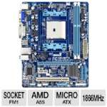 GIGABYTE GA-A55M-DS2 AMD A Series Motherboard - Micro ATX, Socket FM1, AMD A55 Chipset, 1866MHz DDR3, SATA II (3Gb/s), RAID, 7.1-CH Audio, Gigabit LAN, USB 2.0