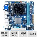 Gigabyte Intel NM70 Motherboard - Mini-ITX, Intel NM70, 1333 MHz DDR3, SATA III (6Gb/s), 7.1-CH Audio, Gigabit LAN, USB 2.0 (GA-C847N-D)