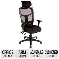 "interion Multifunction Web Mesh Highback Office Chair - 3.5"" Comfort Cushion, Separate Back/Seat Angle & Height Adjust, Arm Rests with Headrest"