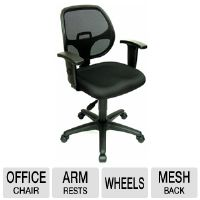 Interion I92-40877 Office Chair - Arm Rests, Mesh Back, Black