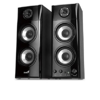 Genius SP-HF1800A Hi-Fi Wood Speaker - 50 Watts, 3 Way Speaker, Adjustable Volume, Bass and Treble Controls, Line-in, Black