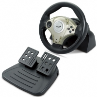 Genius Twin Wheel F1 Vibration Feedback USB Gaming Wheel for PC and PlayStation 2