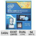 Intel� Core� i3-4130 Dual Core Processor - 3.4 GHz, 3MB L3 Cache, Socket LGA1150, 54 Watts - BX80646I34130