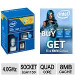 Intel� Core� i7-4790K Processor - Quad Core, 4.0GHz, 8MB Cache, Up to 4.40 GHz, 2 Memory Channels, 16 Max PCI Express Lanes - BX80646I74790K