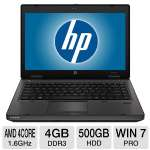 "HP ProBook 6465b LJ490UT Notebook PC - AMD Quad-Core A6-3410MX 1.6GHz, 4GB DDR3, 500GB HDD, DVDRW, 14"" Display, Windows 7 Professional 64-bit, Black"