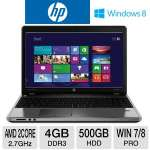"HP ProBook 4545s Notebook PC - AMD Dual-Core A6-4400M 2.7GHz, 4GB DDR3, 500GB HDD, DVDRW, AMD Radeon HD 7640G, 15.6"" Display, Windows 7 Pro 64-bit / Windows 8 Pro 64-bit (C6Z38UT)"