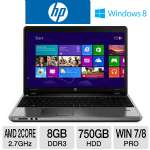 "HP ProBook 4545s Notebook PC - AMD Dual-Core A6-4400M 2.7GHz, 8GB DDR3, 750GB HDD, DVDRW, AMD Radeon HD 7520G, 15.6"" Display, Windows 7 Pro 64-bit / Windows 8 Pro 64-bit (C9K42UT)"