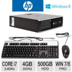 HP Compaq Elite 8300 Desktop PC - 3rd Gen. Intel Core i7-3770 3.4GHz, 4GB DDR3, 500GB HDD, DVDRW, Windows 7/8 Pro 64-bit, Keyboard & Mouse, (D8C25UT#ABA)