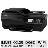 HP OfficeJet 4620 WiFi e-All-in-One Inkjet Printer - Print, Copy, Scan, Fax, 35-page ADF, up to 8 ppm Black & 7.5 ppm Color (ISO), 2&quot; Mono LCD, ePrint, AirPrint, Print from Mobile Device
