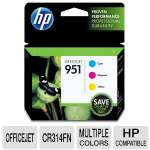 HP 951 CR314FN#140 Original Combo-pack Cyan/Magenta/Yellow Ink Cartridges - Three Ink Cartridges in one pack, Pigment-based, Up to 700 pages per cartridge