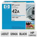 HP 42A Q5942A Black LaserJet Toner Cartridge - Approx. 10,000 page yield.