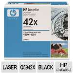 HP 42X Q5942X Black LaserJet Toner Cartridge - average cartridge yields 20,000 pages