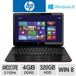 HP ENVY 6z-1100 Sleekbook - AMD Dual-Core A6-4455M 2.1GHz, 4GB DDR3, 320GB HDD, AMD Radeon HD 7500G, 15.6&quot; Display, Windows 8 64-bit