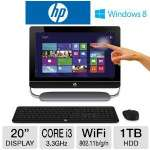 "HP ENVY TouchSmart All-In-One PC - 3rd Generation Intel Core i3-3220 3.3GHz, 4GB DDR3, 1TB HDD, DVDRW, 20"" Touchscreen, Windows 8, Keyboard & Mouse, (20-D030XT)"