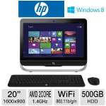 "HP Pavilion 20-B110Z All-In-One PC - AMD Dual-Core E1-1200 1.4GHz, 4GB DDR3, 500GB HDD, DVDRW, 20"" Display, Windows 8 64-bit, Keyboard & Mouse, (C9D64AV#ABA)"
