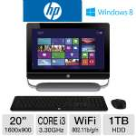 "HP 20-D030 TouchSmart H3Y86AA#ABA All-In-One PC - 3rd Gen. Intel Core i3-3220 3.30GHz, 6GB DDR3, 1TB HDD, DVDRW, 20"" Touchscreen, Windows 8 64-bit, Keyboard & Mouse"