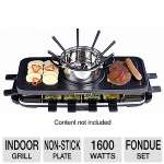 Home Image HI-6K114CO Indoor Fondue Set/Grill - Non Stick Surface, 1600W 