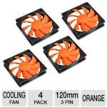 Cougar Turbine CFT12S4 120mm 4 Pack Case Fan - Focus Air Flow, Optimize Cooling Efficiency, Hyper-spin Bearing, Aero-dynamical Design, Orange