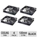 Cougar Turbine CFT12SB4 120mm 4 Pack Case Fan - Focus Air Flow, Optimize Cooling Efficiency, Hyper-spin Bearing, Aero-dynamical Design, Black