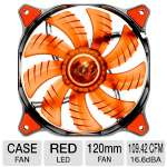 "COUGAR Hydraulic Bearing Fan - 120mm, 1200 RPM, 16.6dBA, 3 Pin Connector, Anti-vibration Pad, 17.7"" Cable Length, Red LED,  - CFD12HBR"