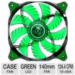 "COUGAR Hydraulic Bearing Fan - 140mm, 1000 RPM, 18dB(A), 3pin Connector, Anti-vibration Pad, 17.7"" Cable Length, Green LED,  - CFD14HBG"